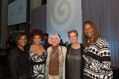Presenters and awardees at the Inaugural American Lung Association LUNG FORCE Gala at the Dorothy Chandler Pavilion in Los Angeles on June 28, 2014. Pictured (l to r): Laphonza Butler, President SEIU ULTCW, LUNG FORCE Commitment Award recipient; Kim Coles, Emcee; Cynthia Munzer, LUNG FORCE Hero and Kathryn Joosten Courage Award recipient; Denise Aberle, MD, LUNG FORCE Impact Award recipient; California State Senator Holly Mitchell (PRNewsFoto/American Lung Association ...)