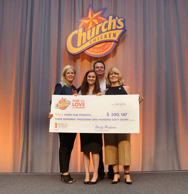 (From left to right) Georgia Margeson, Senior Director of Advertising for Church's Chicken(R); Kate Steele, Senior Manager of Corporate Partnerships for No Kid Hungry; Mark Snyder, Global Chief Marketing Officer for Church's Chicken(R); and Diana Hovey, Senior Director of Dine Out for No Kid Hungry, holding the over-$300,000 check presented by Church's Chicken(R) to No Kid Hungry.