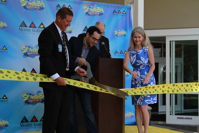 Moody Gardens President/CEO John Zendt; Marc Epstein, Nickelodeon's Senior Vice President of Sports, Recreation and New Business Marketing; Galveston's Mayor Pro Tem Terrilyn Tarlton and Moody Gardens emcee Steve Smith cut the ribbon for the official grand opening of the new SpongeBob SubPants Adventure Saturday with festivities scheduled throughout the holiday weekend.