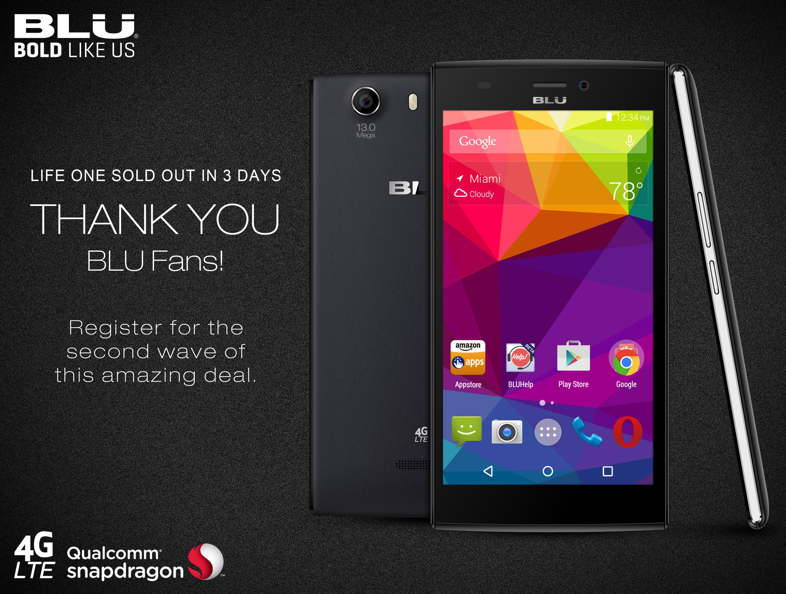 BLU Products Announces First Production Of BLU Life One Sold Out In Just 3 Days On Amazon! To Meet Consumer Demand, Second Chance Sale To Continue.