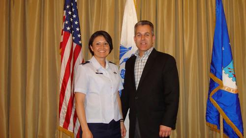 Major Elizabeth Clay Awards Mike Saporito of Hamilton Honda as Honorary Commander