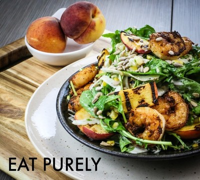 Blackened Shrimp and Grilled Peach Salad from Eat Purely