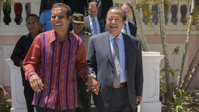 East Timor President Taur Matan Ruak (left) welcomed Prem Rawat (right) to the country.