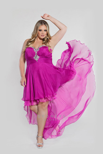 Sexy high-low hemlines are all the rage for Prom 2013 dresses.  Style SC7064 in magenta by Sydney's Closet for plus sizes 14 to 32.   (PRNewsFoto/Sydney's Closet)