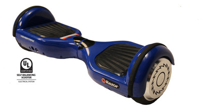 """Razor(R) Hovertrax(TM), featuring its new holographic product label with the UL Enhanced Mark.  Razor is one of the first manufacturers in the United States to be issued a new UL 2272 safety certification for its Hovertrax(TM) the only """"hover board"""" product in the U.S. marketplace with a license for the original patent of this state-of-the-art technology."""