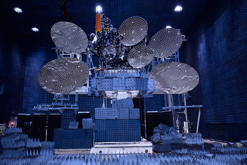 ABS-2 is shown here in the antenna test facility at SSL before it was shipped to launch base. (PRNewsFoto/SSL) (PRNewsFoto/SSL)