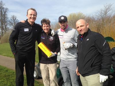 KP's Team – Kevin Pietersen, Shaun Udal, Ian Harvey and Jeremy Snape enjoy the finer things in life at the Shane Warne Golf Classic event at the Grove Luxury Golf Resort.