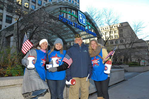 Employees of Fifth Third Bank Chicago fundraise for local educational scholarships through the Folds of Honor ...
