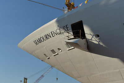 Seabourn celebrated the float out of its new Seabourn Encore at Fincantieri's Marghera shipyard in Italy. A bottle breaks on the ship's bow to mark the significant occasion.