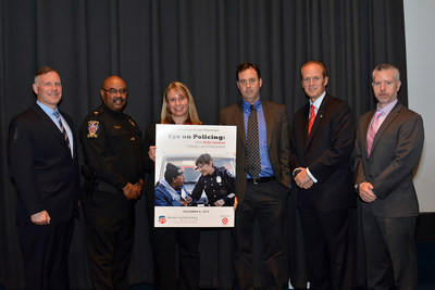 L to R: Lt. Bryan Grenon, Cmdr. Marcus Jones, Lindsay Miller Goodison, Jay Stanley, Craig Floyd, Dr. Michael White