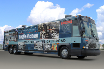 As part of Greyhounds national Centennial Tour, Greyhounds mobile museum bus features memorabilia, such as signage, vintage driver uniforms and an entire wall of history where guests can see Greyhounds transformation over the years, as well as view videos via interactive touchscreen displays.