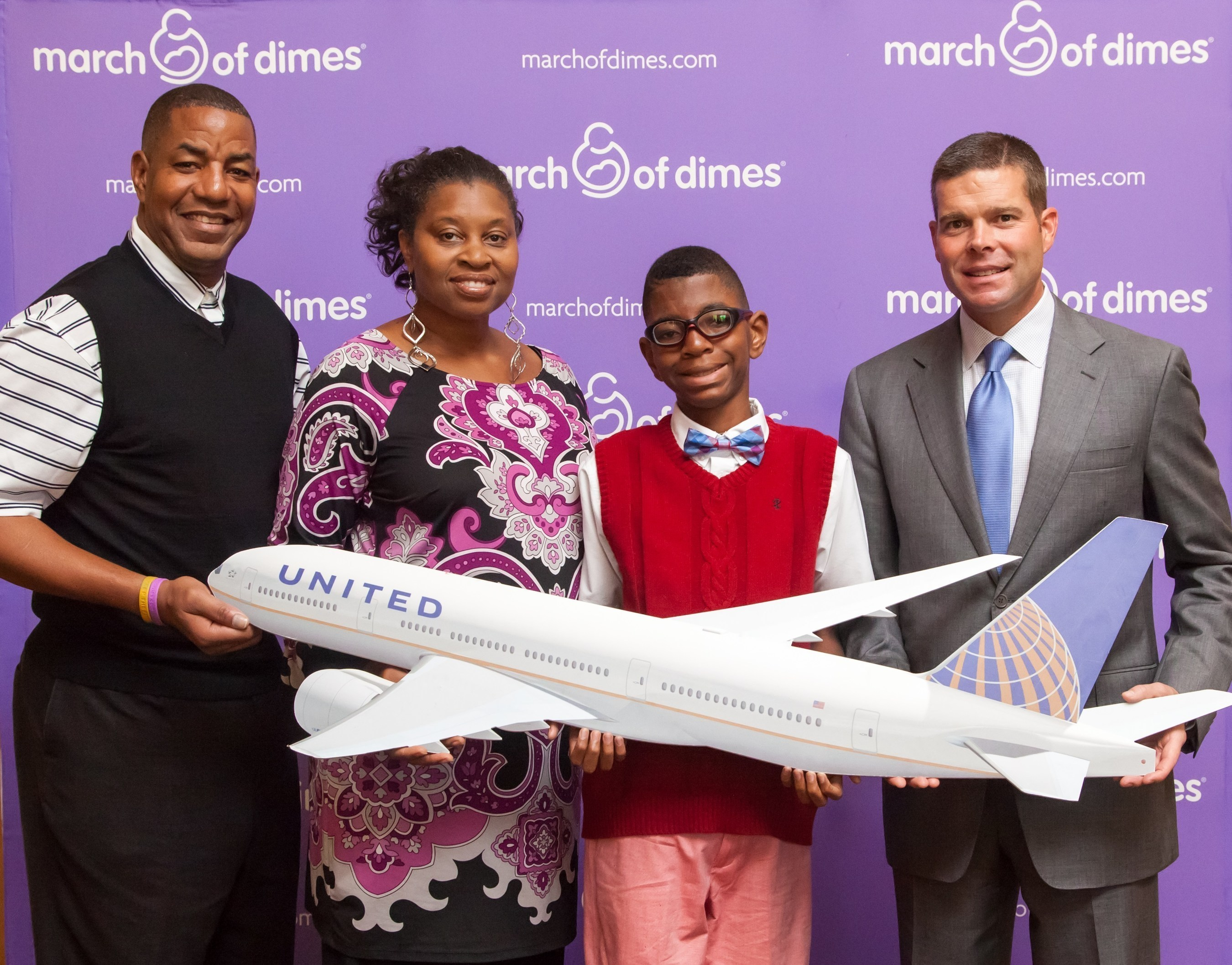 2015 March of Dimes Ambassador family Todd Jackson, United Airlines employee Elise Jackson and son Elijah with ...