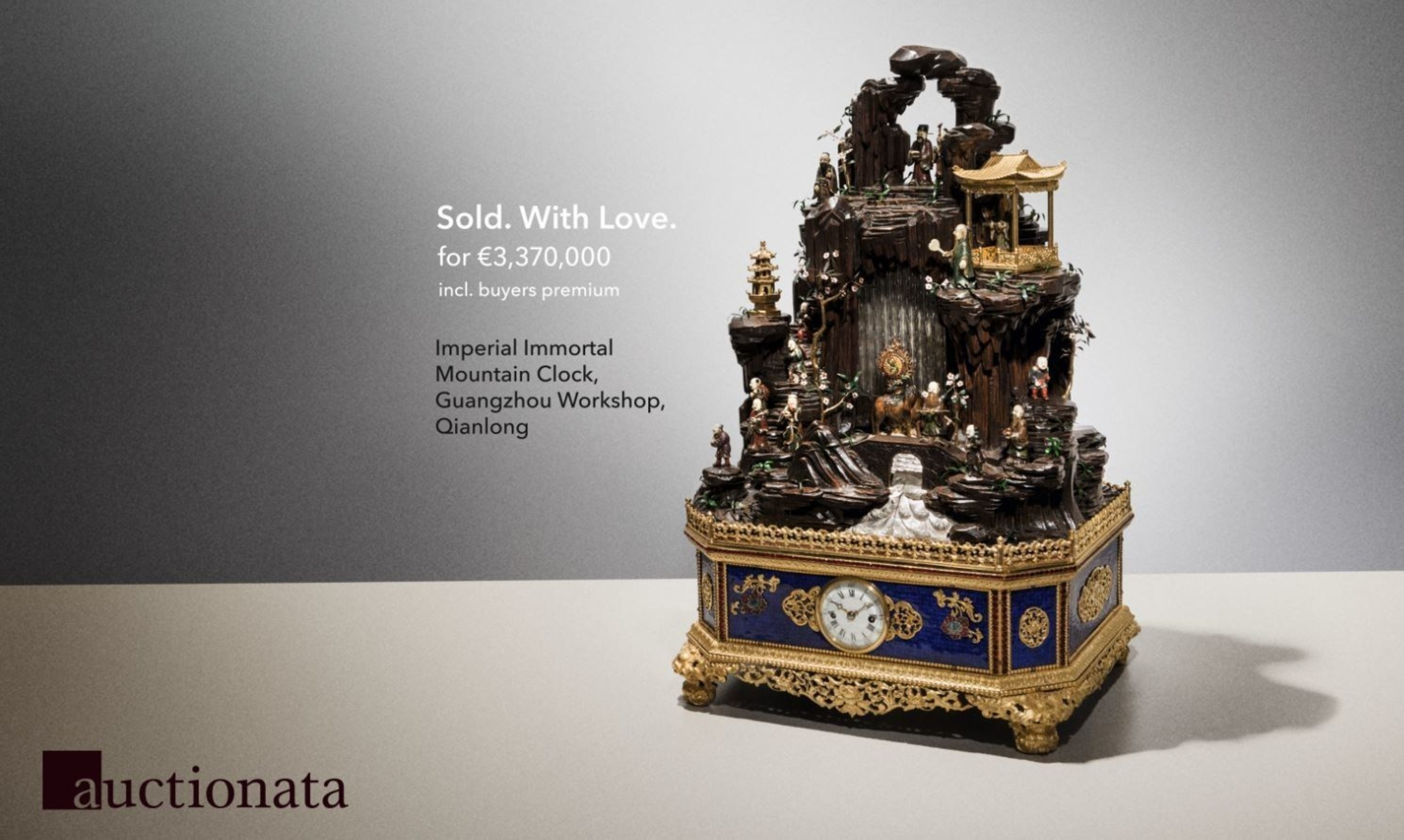 Auction Record: Chinese Clock sells for 3.37 million EUR (3.83 million USD)