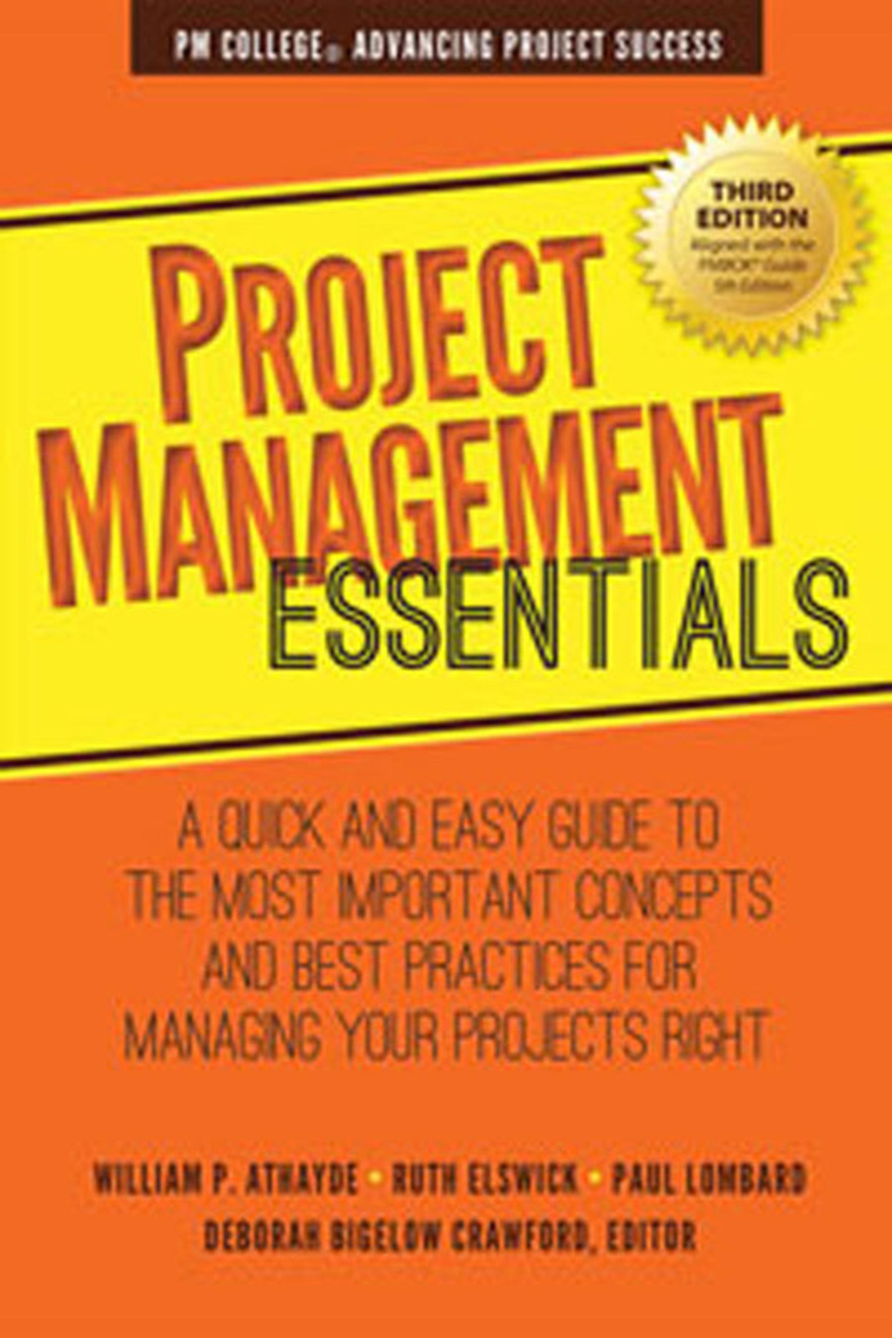 Project Management Essentials, Third Edition book cover.  (PRNewsFoto/Maven House Press)