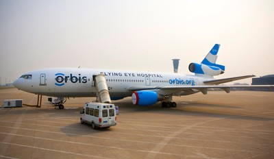 Orbis operates the Flying Eye Hospital (FEH), a fully equipped mobile teaching hospital. On the outside, the plane is like most other aircraft. Inside, it's like no other-it hosts an ophthalmic hospital and teaching facility right on board. Learn more: www.orbis.org. (PRNewsFoto/Orbis)