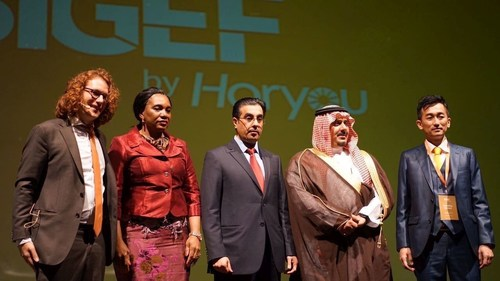 Opening ceremony of SIGEF with Yonathan Parienti, Founder of Horyou, H.E Rosalie Matondo, Minister of Environment Republic of Congo, Dr. Ali Bin Samikh Al Marri, Chairman of the National Human Rights Committee (NHRC) in Qatar, HRH Prince Nawaf bin Saad al Saud, Chairman of the Al-Hilal Saudi Football Club and Yasuhiro Yamamoto, President of Eneco Holdings. (PRNewsFoto/Horyou)