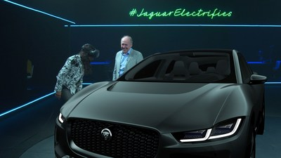 Michelle Rodriquez views the new Jaguar I-PACE Concept in virtual reality at the global reveal of Jaguars first ever fully electric car (PRNewsFoto/Jaguar Land Rover)