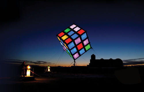 "A photo illustration of Groovik's Cube at Liberty Science Center in Jersey City, NJ. The giant art-meets-science installation will premiere at LSC in spring 2014, on the 40th anniversary of the invention of Rubik's Cube(R), before traveling the globe for seven years. Groovik's Cube will serve as the centerpiece of ""Beyond Rubik's Cube,"" a 7,000-square-foot exhibition designed to celebrate the world's most popular puzzle and the many cool things the Cube has inspired in robotics, engineering, mathematics, design, art  ..."
