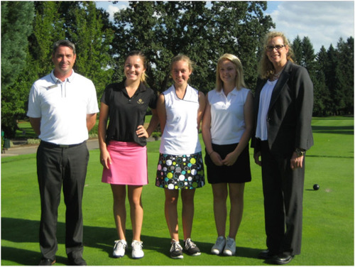 First day of golf at Royal Oaks Country Club for the Scholar Golf Athletes. Pictured from left to right: Scott Leritz - Head PGA Golf Professional, Bridget Standard - Vancouver Home Connections, Madelynne Pirkl - Columbia River High School, Molly Bilsborough - Camas High School, and Marcia LaFond - Club Manager. (PRNewsFoto/Royal Oaks Country Club) (PRNewsFoto/ROYAL OAKS COUNTRY CLUB)