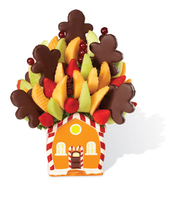 The Edible Arrangements Holiday House Bouquet(TM) is one of many holiday gift arrangements available for delivery through Christmas Eve.  (PRNewsFoto/Edible Arrangements)