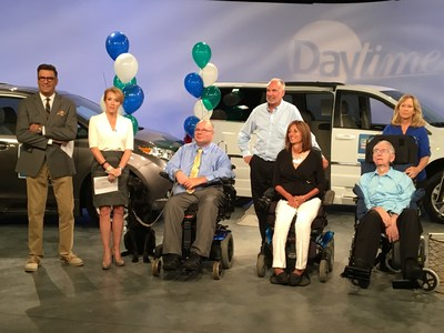 Today on the syndicated Daytime, the three winners of the National Mobility Equipment Dealers Association's 2016 National Mobility Awareness Month's Local Heroes Contest were announced.  Each will win a wheelchair accessible vehicle.  From left Daytime hosts, Jerry Penacoli and Cyndi Edwards with winners, Steve Karmgard, seated, Dave Hastings, center, with his wife Lori, seated, and Laura Rose with her husband John, seated.