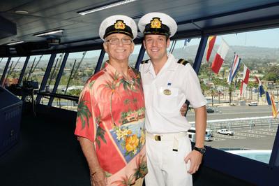 Gavin MacLeod and Gavin MacLeod meet on the bridge of Island Princess.  (PRNewsFoto/Princess Cruises)