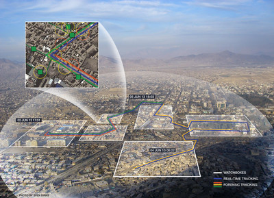 When operated in collaboration with Multi-Spectral Targeting System, the wide-area motion imagery sensor can detect, track and cross-cue multiple vehicles and dismounts moving over an entire city-sized area providing unprecedented elements of situational awareness for the combined Raytheon/Logos multi-INT system.