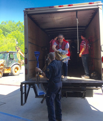 Lowe's of Clarksburg donated shovels, wheelbarrows, trash bags and other critically needed supplies to the Bridgeport Fire Department to help flood victims.