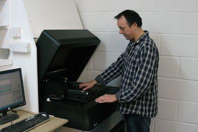Grant Pearmain, FBFX Managing Director, and his Stratasys Objet30 Desktop 3D Printer