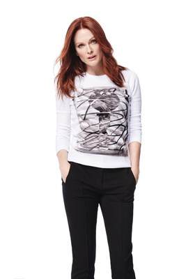 Julianne Moore wears Jason Wu designed tee for 2015 Key To The Cure Campaign in partnership with Saks Fifth Avenue and Entertainment Industry Foundation's Stand Up To Cancer.
