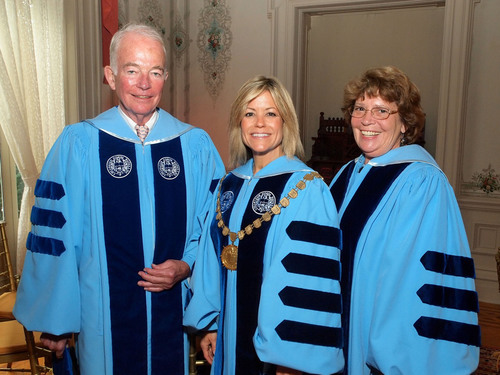 Pictured, from left, Michael N. Ambler, Chairman of the Board of Trustees, The College of New Rochelle; Judith Huntington, President, The College of New Rochelle; and Elizabeth LeVaca, Trustee, The College of New Rochelle.  (PRNewsFoto/The College of New Rochelle)