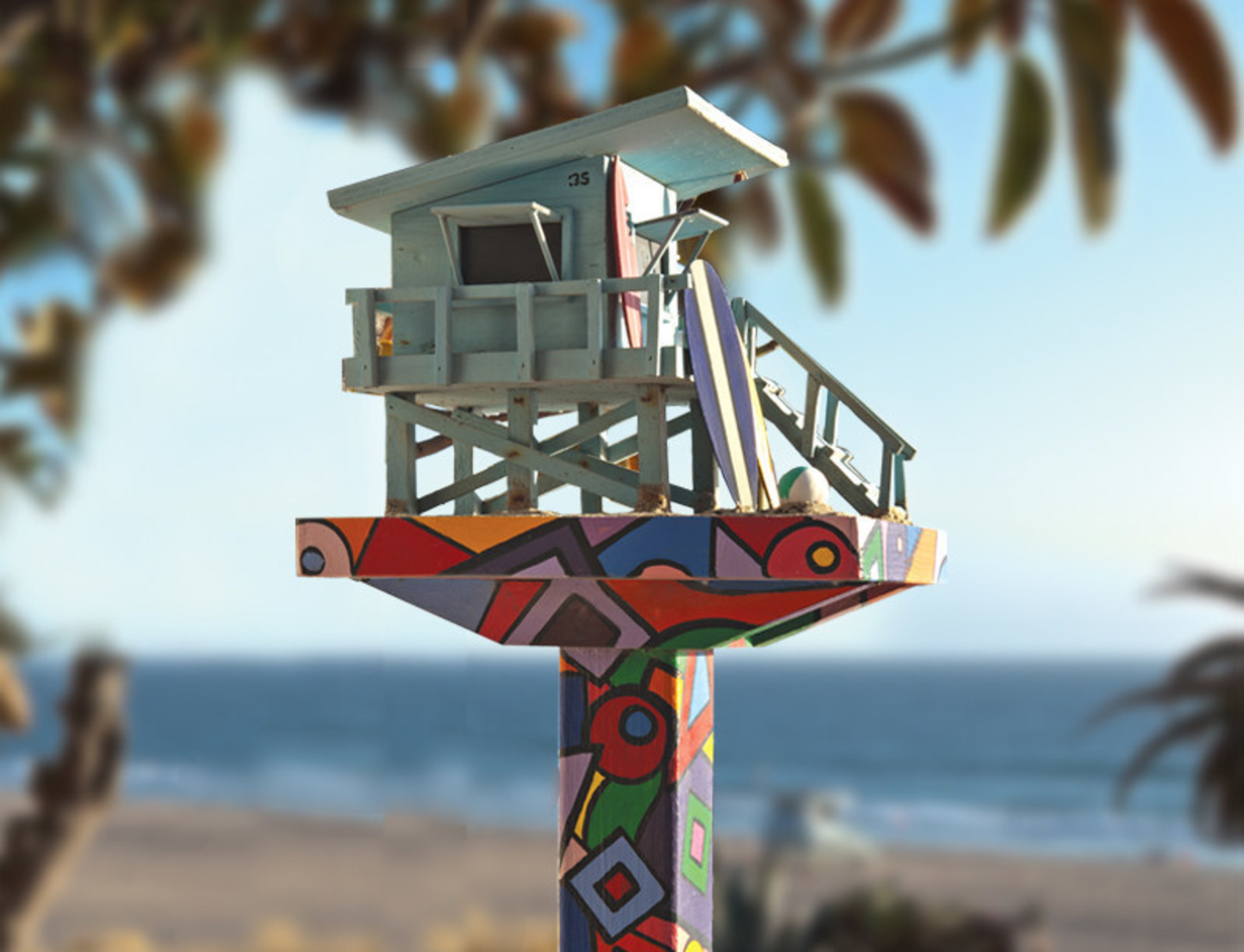 You can give a birdhouse more personality by painting it in bright colors.