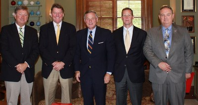 (L to R) James Braswell, Langston Construction Co. of Piedmont LLC; Dave Simpson, CAGC President & CEO; U.S. Senator Richard Burr; Edison Cassels, Edison Foard; Marty McKee, King Asphalt, Inc.