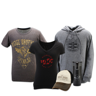 Just in time for the holiday shopping season, the Dodge brand is celebrating its centennial with an all-new line of merchandise designed to honor the brand's 100 years of innovation, performance and heritage. The merchandise is on sale now at www.Life.Dodge.com.  (PRNewsFoto/Chrysler Group LLC)