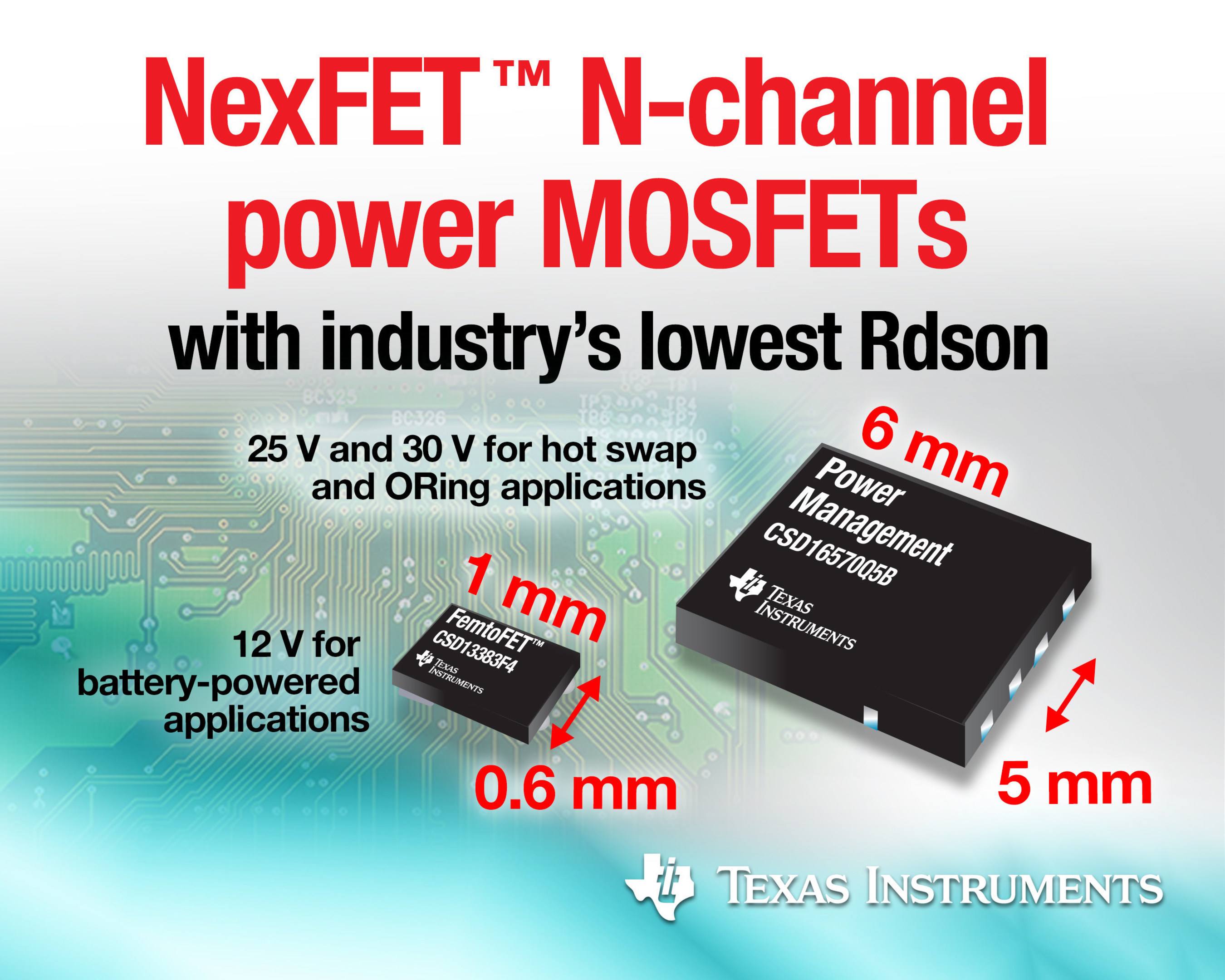 TI's NexFET™ N-channel power MOSFETs achieve industry's lowest