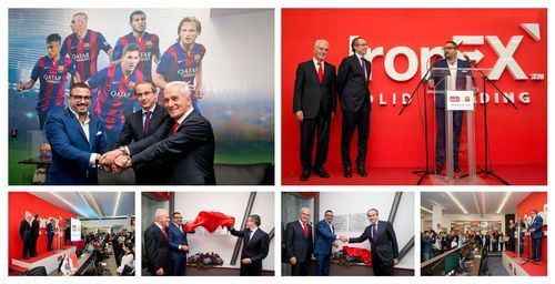 """A UNION OF TWO GLOBAL LEADERS âeuro"""" Vice President of FC Barcelona Javier Faus inaugurates IronFX Global Headquarters in Limassol (PRNewsFoto/IronFX Global Limited)"""
