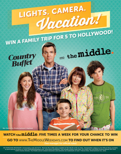 Ryan's, HomeTown Buffet, and Old Country Buffet are partnering with Warner Bros. and The Middle to send one lucky family on a VIP trip to Hollywood, Calif. The sweepstakes is free to enter and starts on February 3, 2014. (PRNewsFoto/Ovation Brands) (PRNewsFoto/OVATION BRANDS)