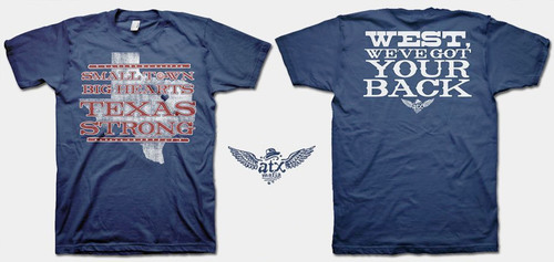 "Dripping Springs, Texas apparel company, ATX Mafia, has created a T-shirt to benefit the victims of the recent tragedy in West, Texas. Sales of the T-shirt, ""Small Town, Big Hearts, Texas Strong - West, We've Got Your Back"" have already topped $35,000, with 100 percent of the proceeds going to the West, Texas Victim's Fund. The T-shirt can be purchased at www.atxmafia.com for $20.  (PRNewsFoto/ATX Mafia)"