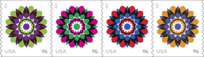 Continuing its tradition of issuing beautiful and distinctive floral stamps, the U.S. Postal Service issued the Kaleidoscope Flowers 46-cent stamps today. Available in self-adhesive coils of 3,000 and 10,000, customers may order the stamps now to prepare for the Jan. 27 First-Class letter mail one-cent price change at usps.com/stamps, or by phone at 800-STAMP24 (800-782-6724).  (PRNewsFoto/U.S. Postal Service)