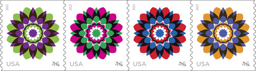 Postal Service Issues Unique Kaleidoscope Flowers Stamps