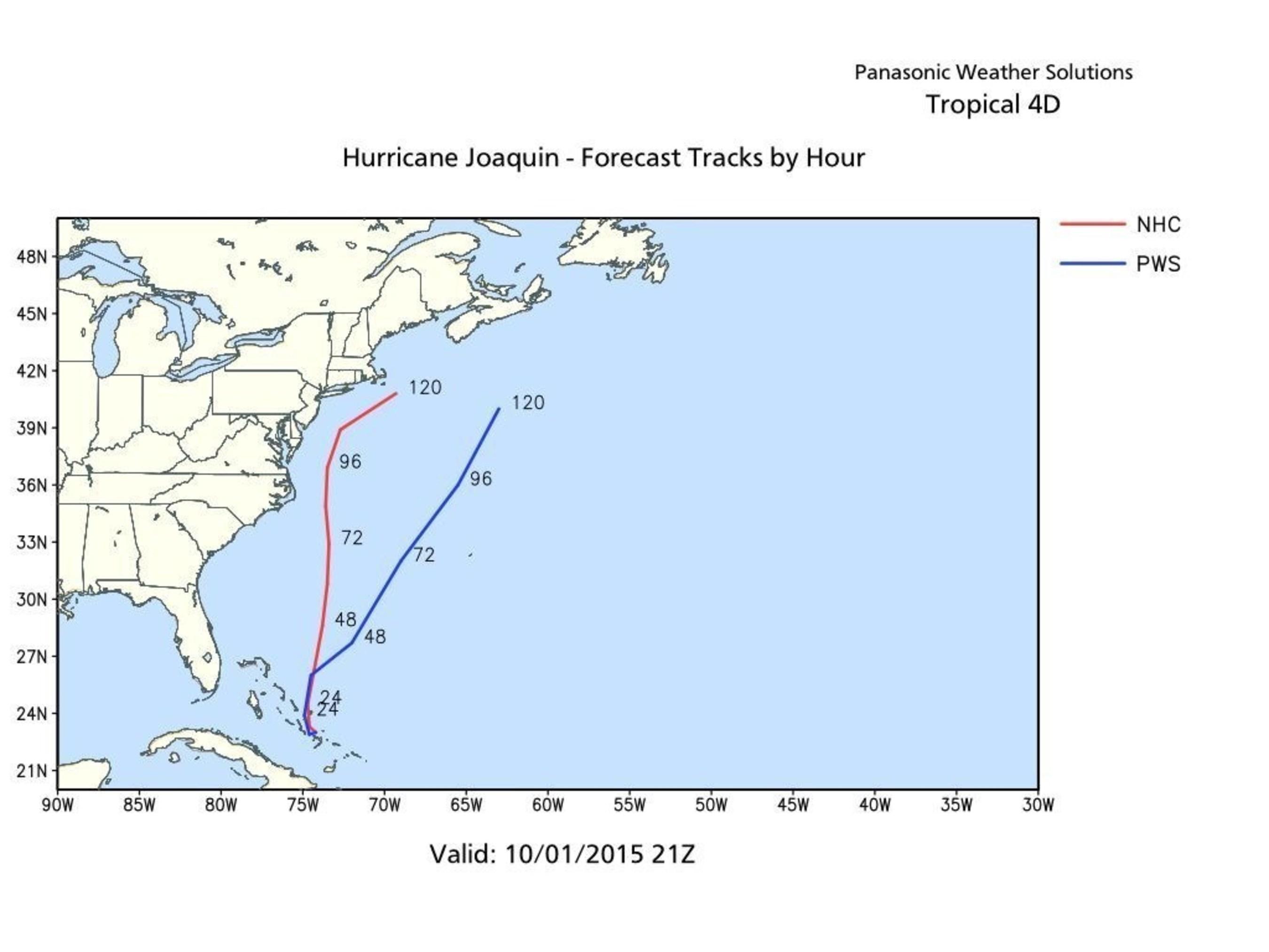 Hurricane Joaquin - Forecast Tracks by the Hour (PRNewsFoto/Panasonic Weather Solutions)