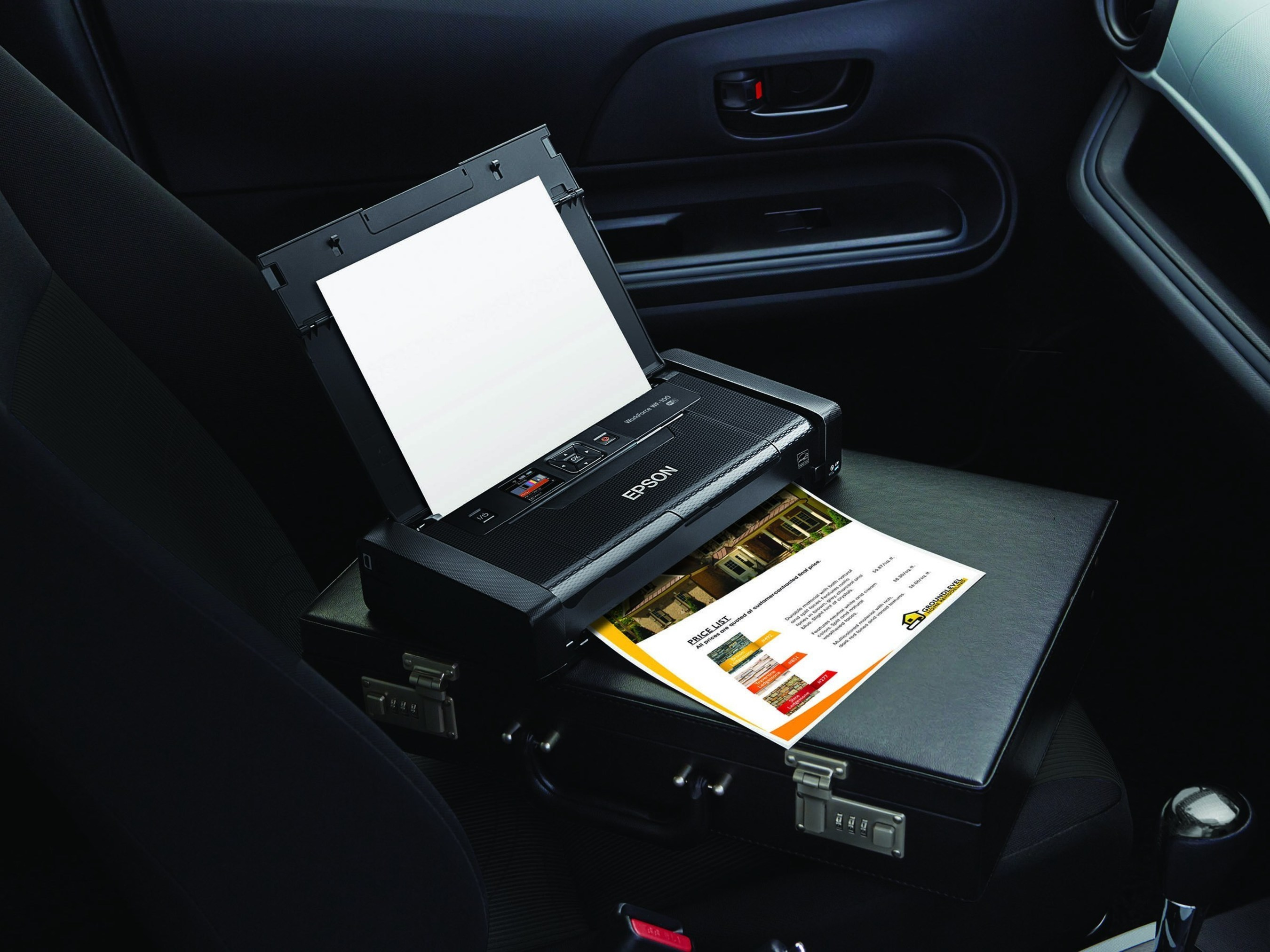 The Epson WorkForce WF-100, the world's smallest and lightest mobile printer, designed for professionals on-the-go.