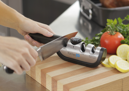 Angle Adjustable Manual Knife Sharpener from KitchenIQ(TM). This is the FIRST adjustable sharpener of its kind.  ...