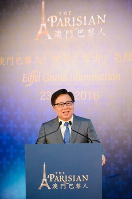 Dr. Wilfred Wong, President of Sands China Ltd. officiates at The Parisian Macao's exclusive Eiffel Tower illumination event held June 23. The Parisian Macao is set to open in mid-September, 2016.