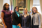 Three newest members of the Massachusetts Commission on the Status of Women are (l-r) Denella Clark, Chief Development Office, Bottom Line; Carolina Avellaneda, Vice President of Operations & General Counsel, Fisher College; and Sara Schnorr, Of Counsel, Locke Lord. They are joined by Lt. Governor Karyn Polito.