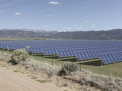 A computer-generated model of the Utah Red Hills Renewable Energy Park site. (PRNewsFoto/Scatec Solar)