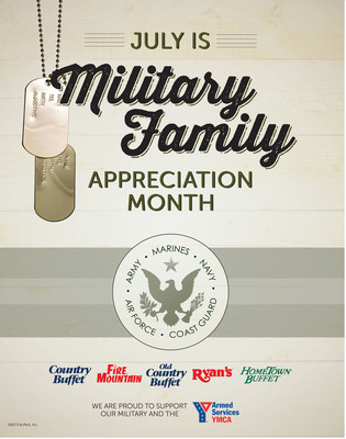 Ryan's, HomeTown Buffet, and Old Country Buffet are saluting military families throughout the month of July with an expanded military appreciation program. Active and retired military personnel, plus their spouses and children (up to a party of four) may enjoy a 15 percent discount on their meals and beverages with valid military I.D.  (PRNewsFoto/Buffets, Inc.)