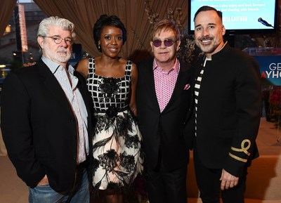 George Lucas & Mellody Hobson and Sir Elton John & David Furnish Honored at Backstage at the Geffen Playhouse Annual Fundraiser on March 22, 2015