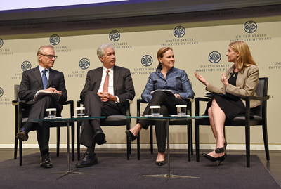 From Left to Right: David Ignatius moderated expert panel on fragility: William J. Burns (Carnegie Endowment for International Peace), Michèle Flournoy (Center for a New American Security) and Nancy Lindborg (U.S. Institute of Peace)