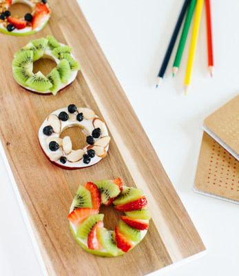 "Yogurt and Apple Slice ""Donuts"" made with Real California yogurt are a creative healthy snack."